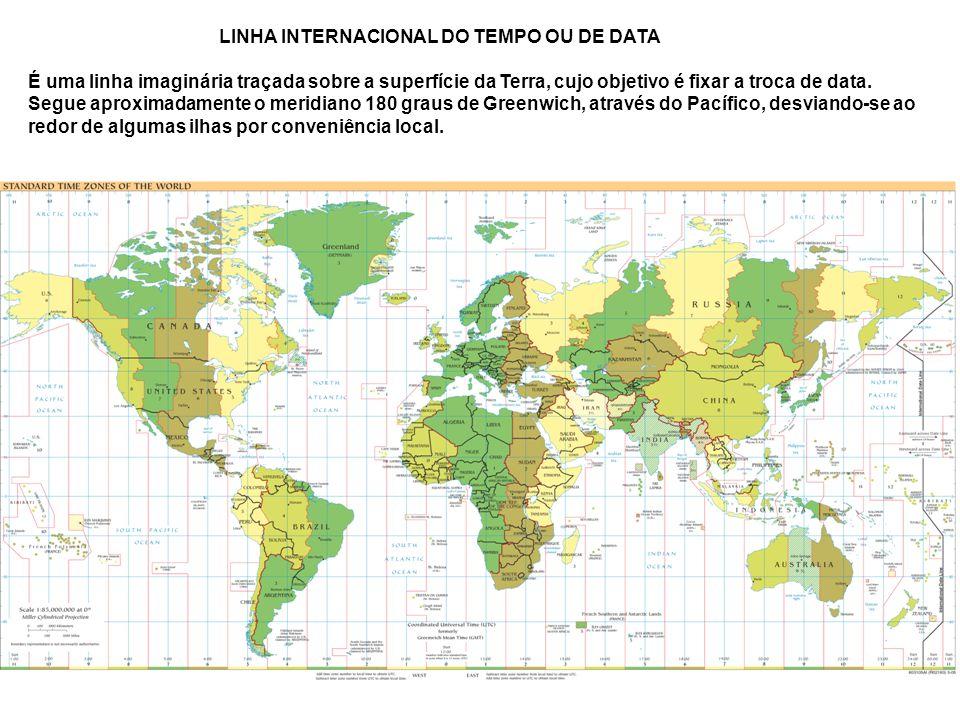 LINHA INTERNACIONAL DO TEMPO OU DE DATA É uma linha imaginária traçada sobre a superfície da Terra, cujo objetivo é fixar a troca de data.