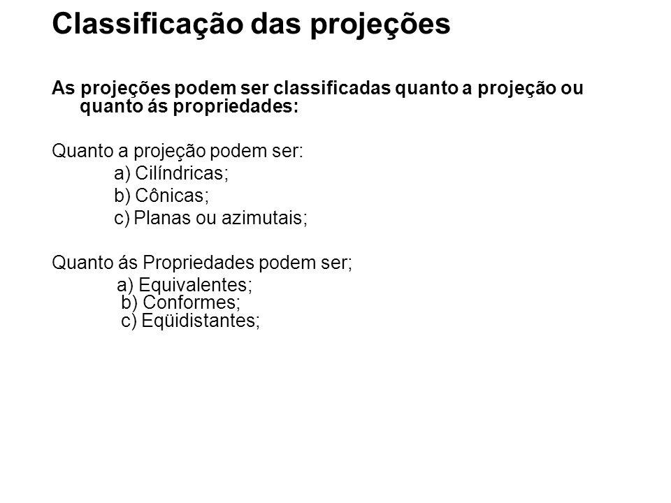 Classificação das projeções As projeções podem ser classificadas quanto a projeção ou quanto ás propriedades: Quanto a projeção podem ser: a) Cilíndricas; b) Cônicas; c) Planas ou azimutais; Quanto ás Propriedades podem ser; a) Equivalentes; b) Conformes; c) Eqüidistantes;
