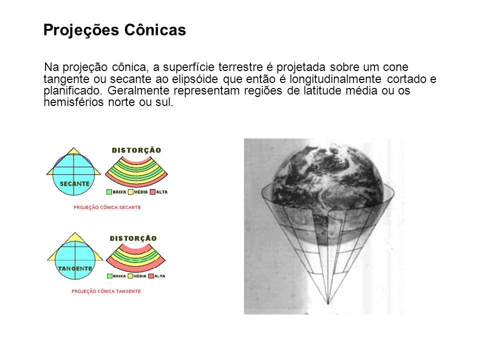 Projeções Cônicas Na projeção cônica, a superfície terrestre é projetada sobre um cone tangente ou secante ao elipsóide que então é longitudinalmente cortado e planificado.
