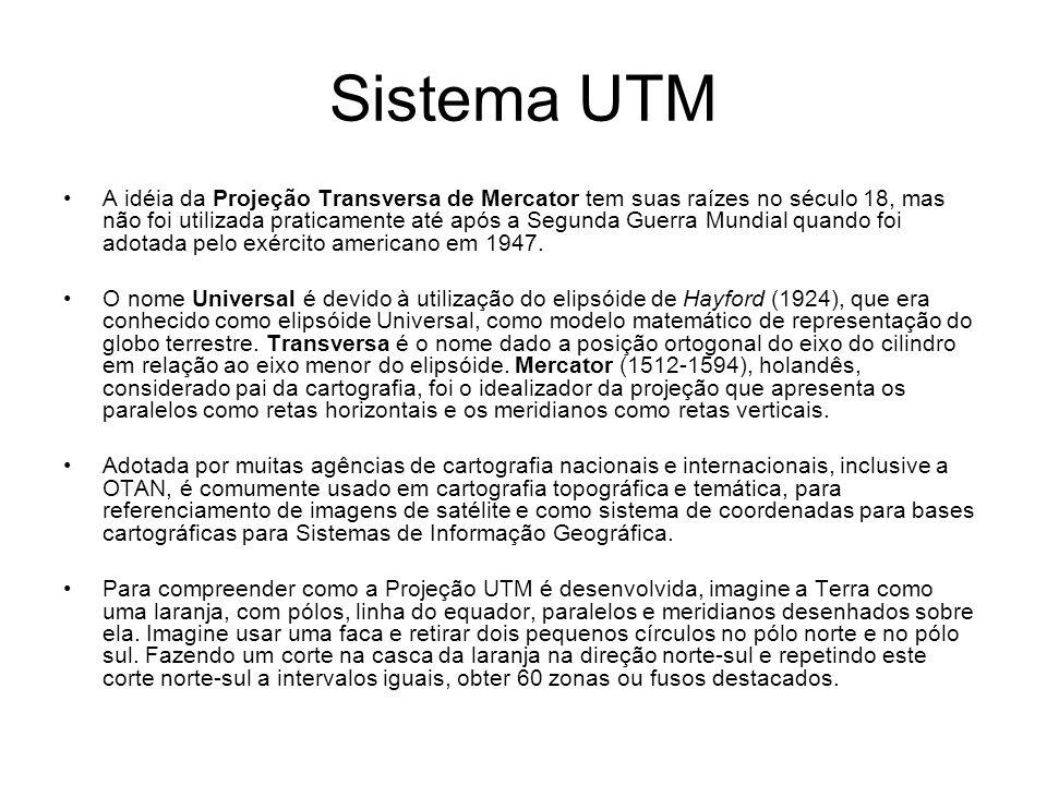 Sistema UTM A idéia da Projeção Transversa de Mercator tem suas raízes no século 18, mas não foi utilizada praticamente até após a Segunda Guerra Mundial quando foi adotada pelo exército americano em 1947.