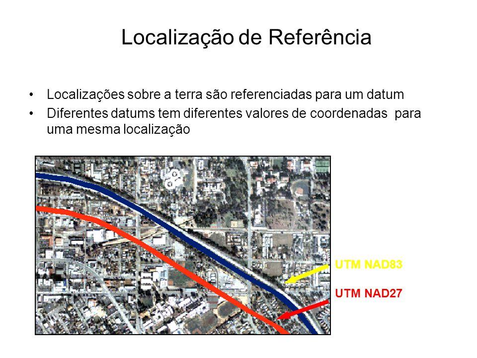 Localização de Referência Localizações sobre a terra são referenciadas para um datum Diferentes datums tem diferentes valores de coordenadas para uma mesma localização UTM NAD83 UTM NAD27