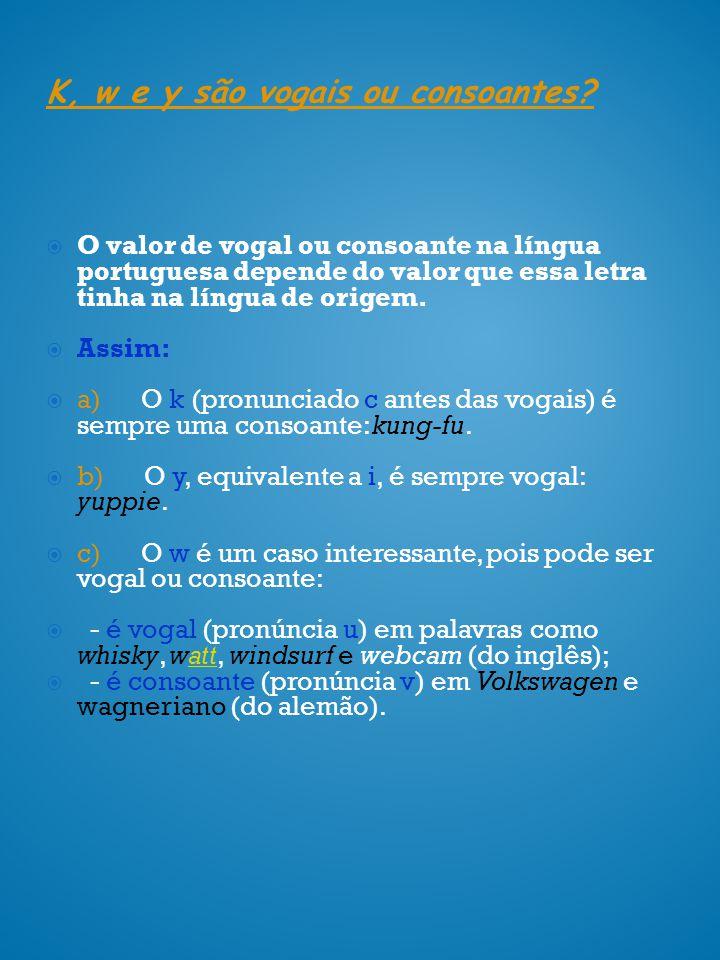 O valor de vogal ou consoante na língua portuguesa depende do valor que essa letra tinha na língua de origem. Assim: a) O k (pronunciado c antes das v