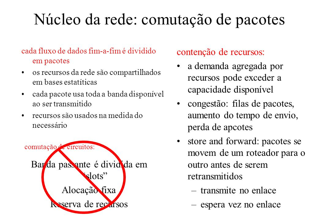 Núcleo da rede: comutação de pacotes cada fluxo de dados fim-a-fim é dividido em pacotes os recursos da rede são compartilhados em bases estatíticas c