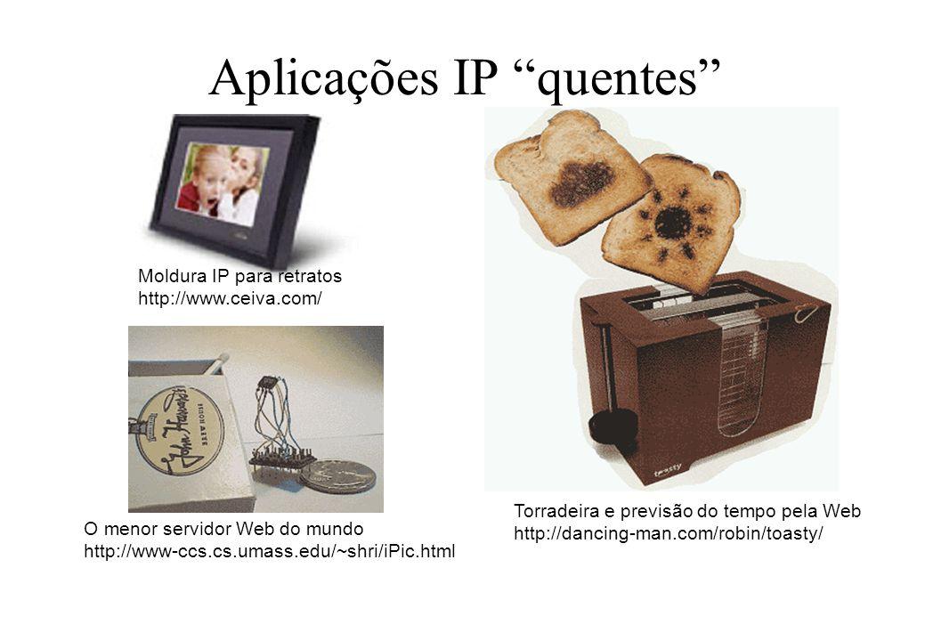 Aplicações IP quentes O menor servidor Web do mundo http://www-ccs.cs.umass.edu/~shri/iPic.html Torradeira e previsão do tempo pela Web http://dancing
