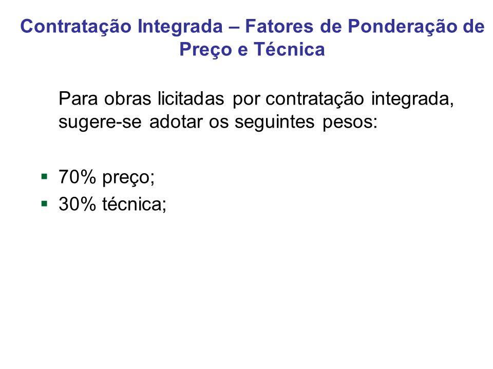 Contratação Integrada – Fatores de Ponderação de Preço e Técnica Para obras licitadas por contratação integrada, sugere-se adotar os seguintes pesos: