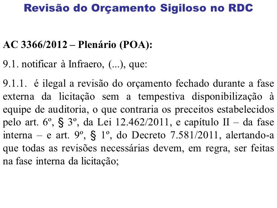 Revisão do Orçamento Sigiloso no RDC AC 3366/2012 – Plenário (POA): 9.1. notificar à Infraero, (...), que: 9.1.1. é ilegal a revisão do orçamento fech