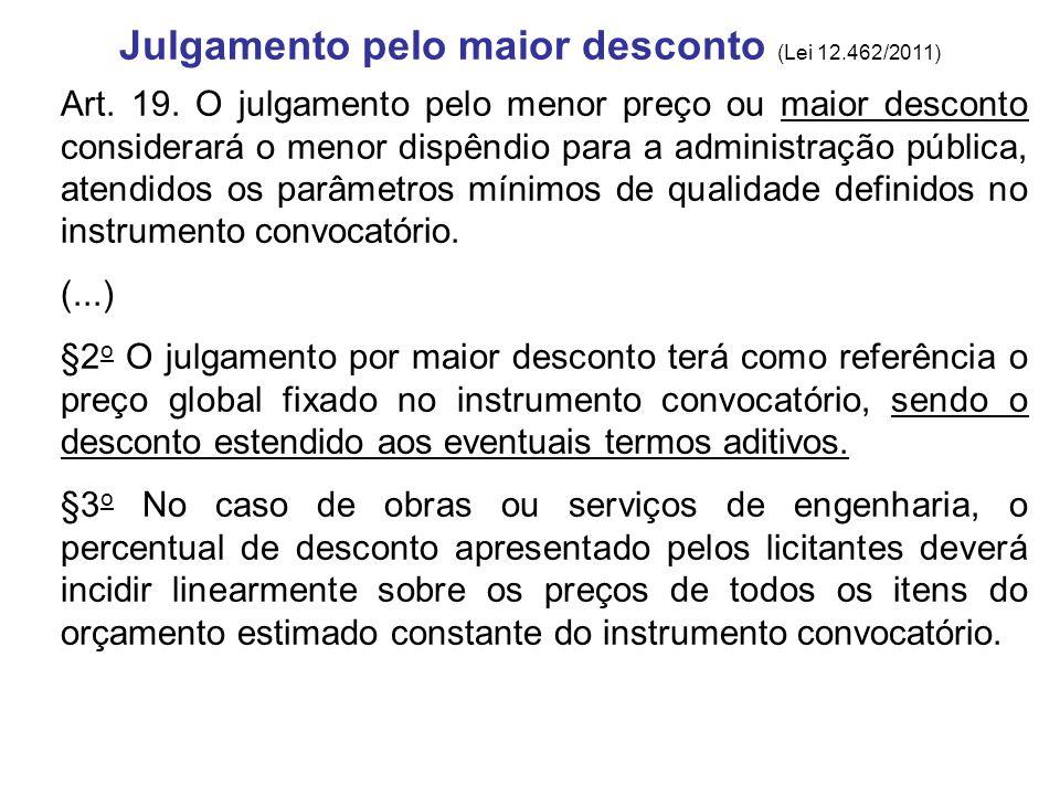 Julgamento pelo maior desconto (Lei 12.462/2011) Art. 19. O julgamento pelo menor preço ou maior desconto considerará o menor dispêndio para a adminis