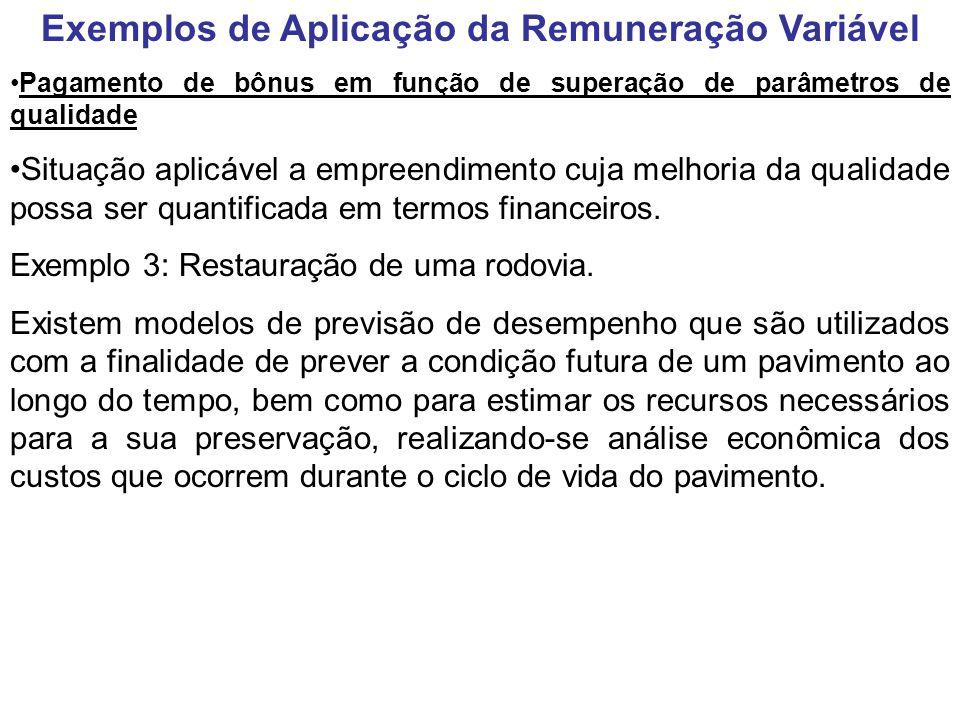 Exemplos de Aplicação da Remuneração Variável Pagamento de bônus em função de superação de parâmetros de qualidade Situação aplicável a empreendimento