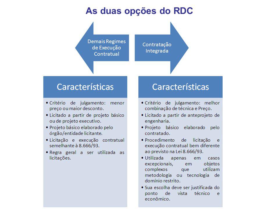 O critério de julgamento pelo maior desconto é uma relevante inovação do RDC, constituindo-se no caminho preferencial do novo regime, apresentando várias vantagens em relação aos demais critérios de julgamento: Menores prazos entre publicação do edital e a apresentação das propostas; Evita o jogo de planilha e o jogo de cronograma; Racionaliza o exame da economicidade e exequibilidade das propostas das licitantes; Não adota o orçamento sigiloso; Estabelece critério claro e objetivo para a inclusão de preços de serviços novos no contrato mediante termo aditivo.