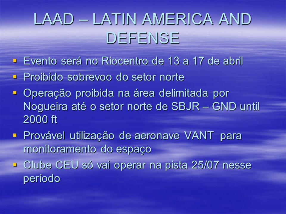 LAAD – LATIN AMERICA AND DEFENSE Evento será no Riocentro de 13 a 17 de abril Evento será no Riocentro de 13 a 17 de abril Proibido sobrevoo do setor
