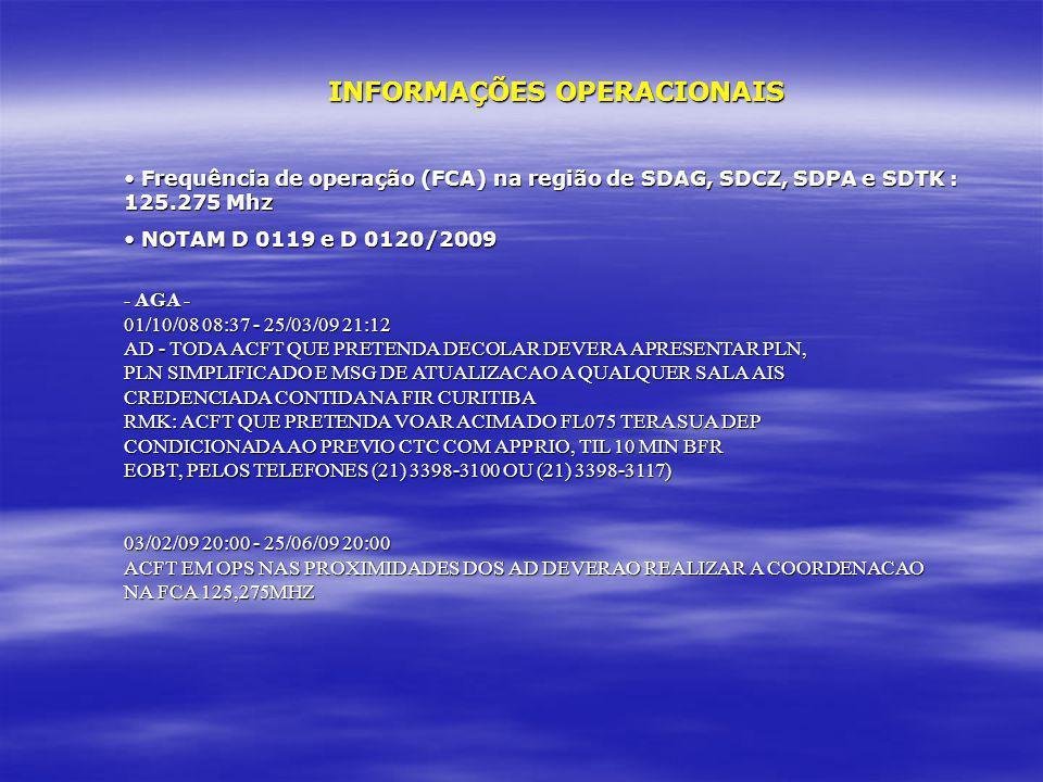 INFORMAÇÕES OPERACIONAIS Frequência de operação (FCA) na região de SDAG, SDCZ, SDPA e SDTK : 125.275 Mhz Frequência de operação (FCA) na região de SDA