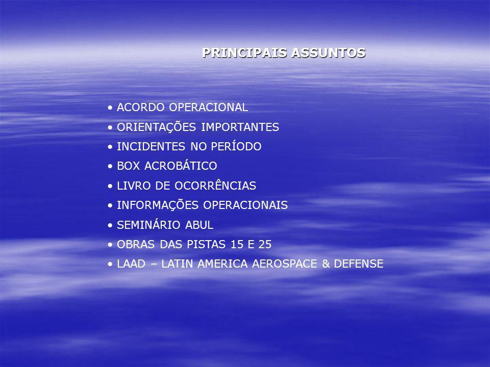 PRINCIPAIS ASSUNTOS ACORDO OPERACIONAL ORIENTAÇÕES IMPORTANTES INCIDENTES NO PERÍODO BOX ACROBÁTICO LIVRO DE OCORRÊNCIAS INFORMAÇÕES OPERACIONAIS SEMI