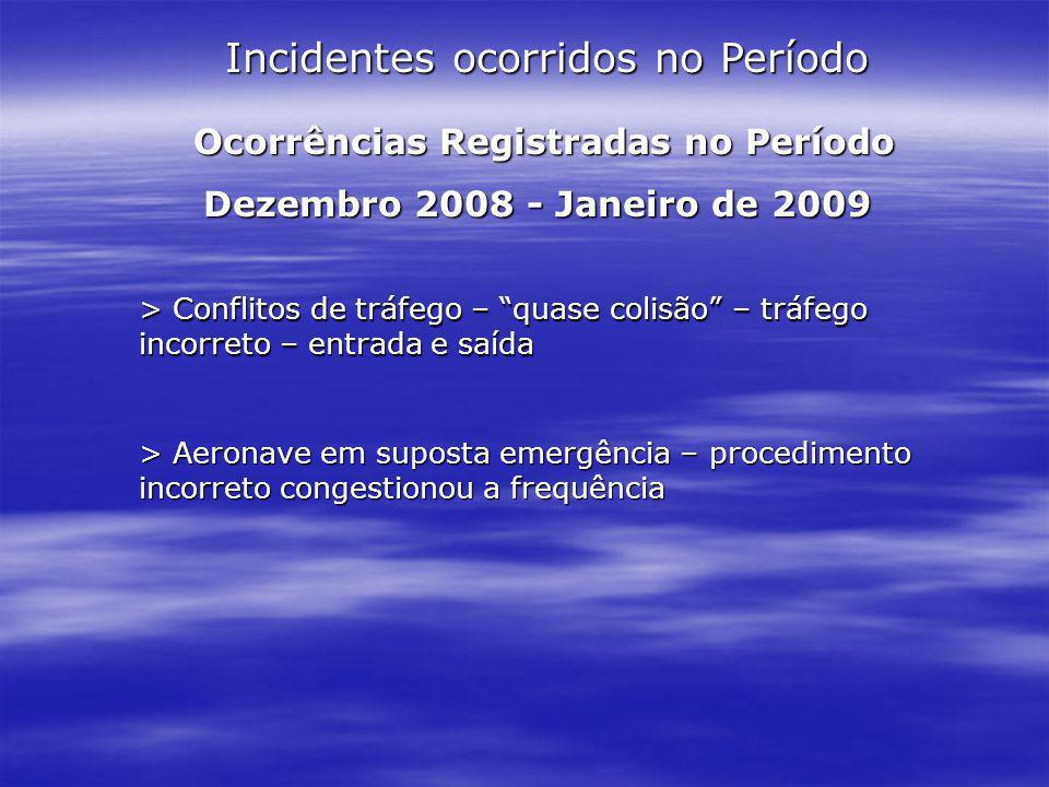 Incidentes ocorridos no Período Ocorrências Registradas no Período Ocorrências Registradas no Período Dezembro 2008 - Janeiro de 2009 > Conflitos de t