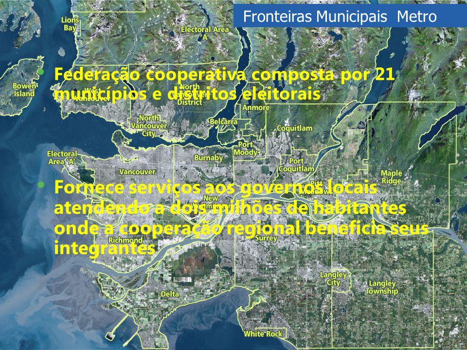 Fronteiras Municipais Metro Fornece serviços aos governos locais atendendo a dois milhões de habitantes onde a cooperação regional beneficia seus integrantes Federação cooperativa composta por 21 municípios e distritos eleitorais