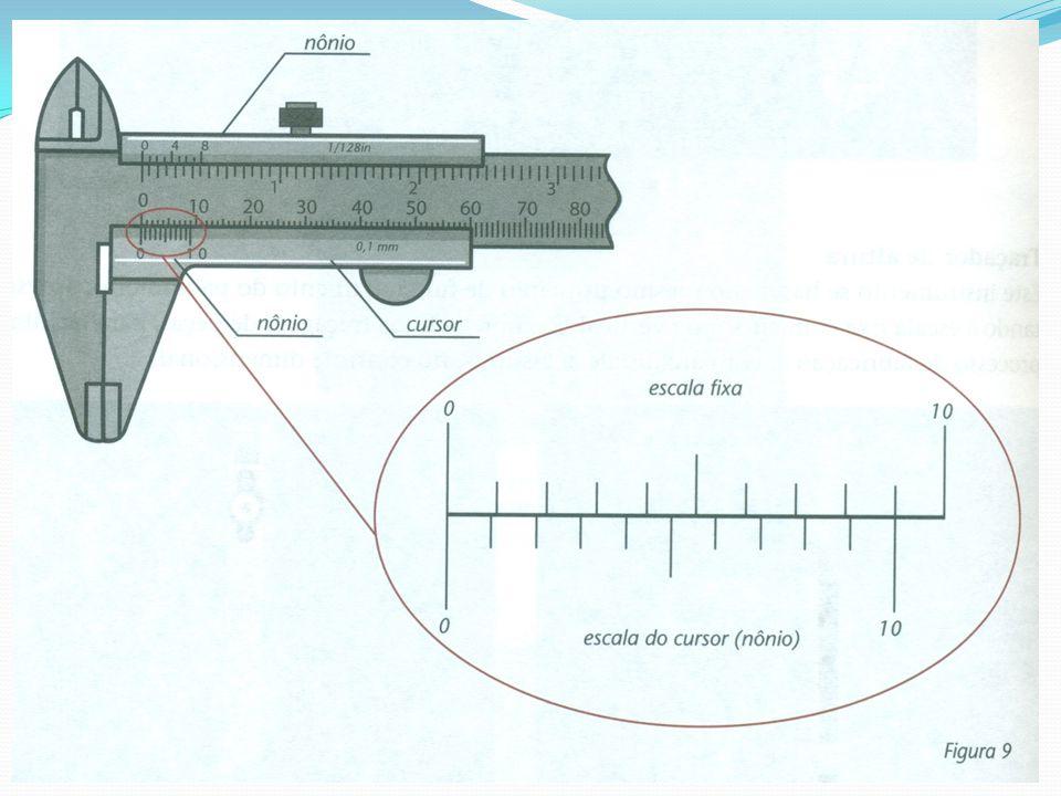No sistema métrico, existem paquímetros em que o nônio possui dez divisões equivalentes a nove milímetros (9 mm).