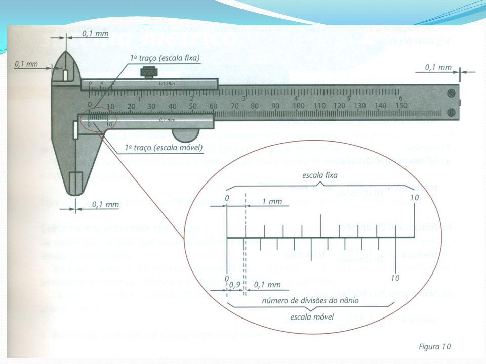 Essa diferença é de 0,2 mm entre o segundo traço de cada escala; de 0,3 mm entre o terceiros traços e assim por diante.