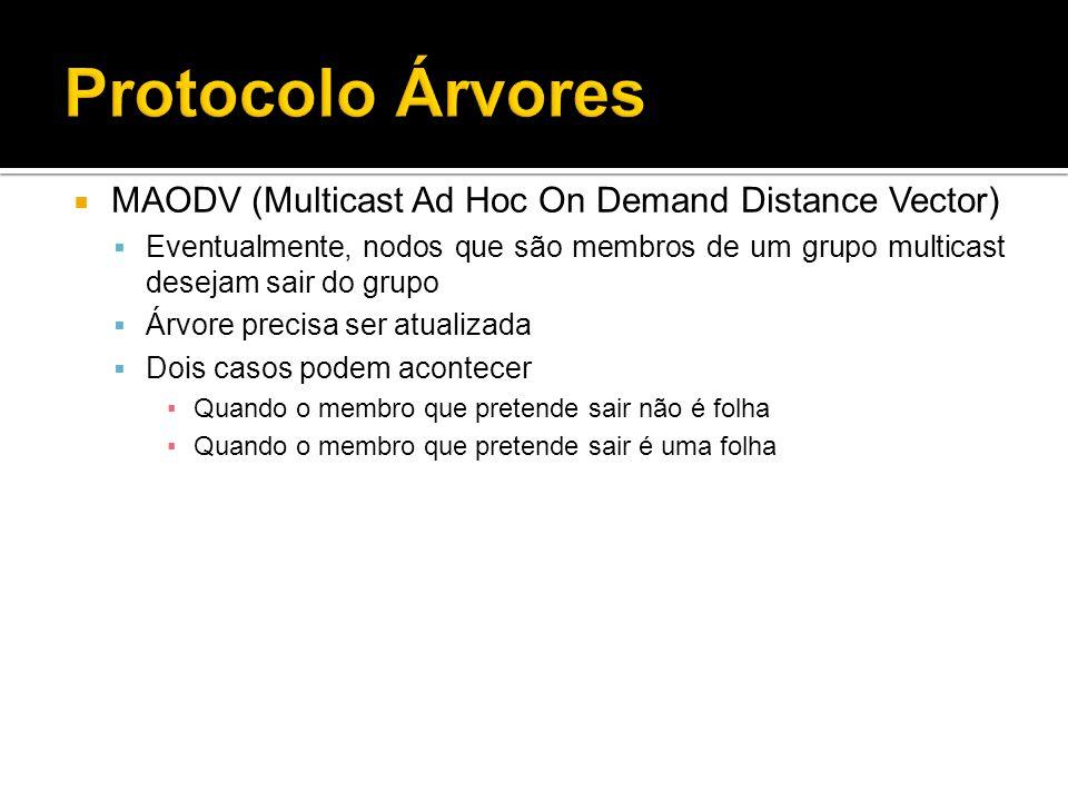 MAODV (Multicast Ad Hoc On Demand Distance Vector) Eventualmente, nodos que são membros de um grupo multicast desejam sair do grupo Árvore precisa ser atualizada Dois casos podem acontecer Quando o membro que pretende sair não é folha Quando o membro que pretende sair é uma folha