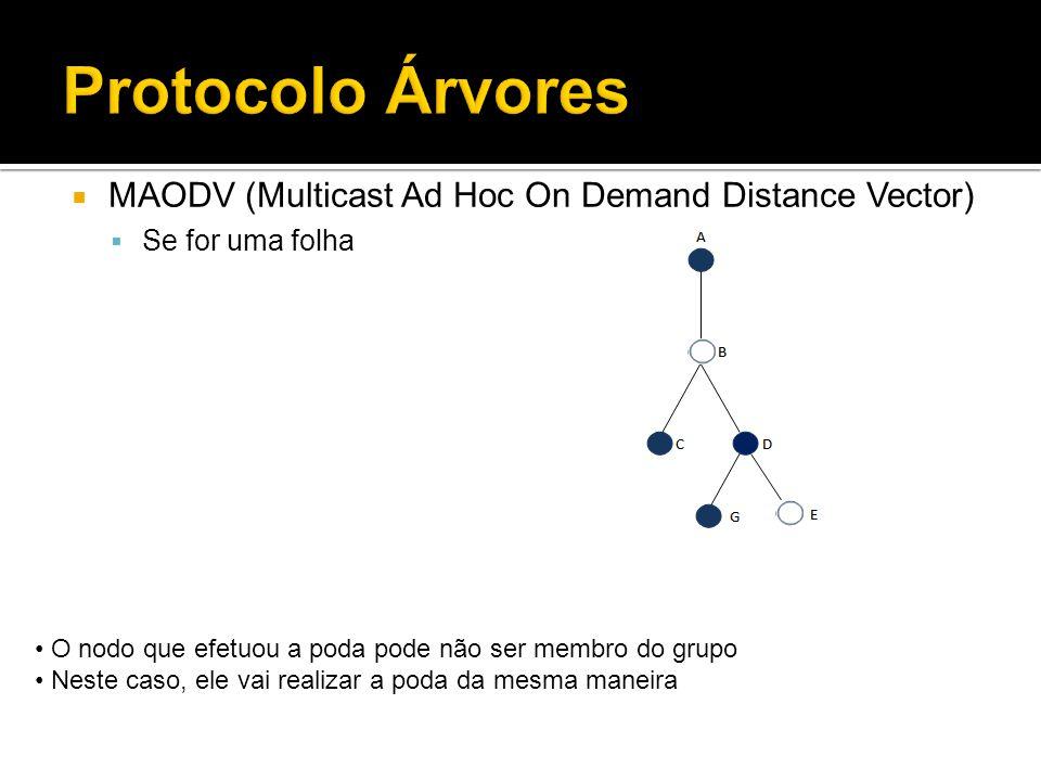 Protocolo Árvores MAODV (Multicast Ad Hoc On Demand Distance Vector) Se for uma folha O nodo que efetuou a poda pode não ser membro do grupo Neste caso, ele vai realizar a poda da mesma maneira