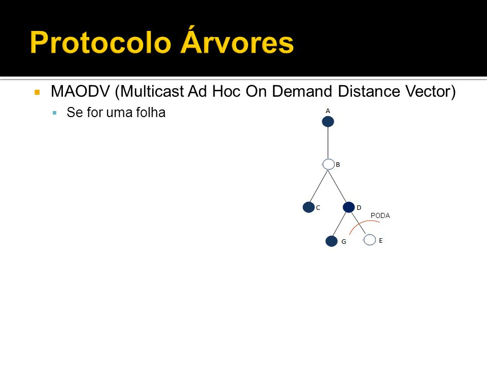 Protocolo Árvores MAODV (Multicast Ad Hoc On Demand Distance Vector) Se for uma folha PODA