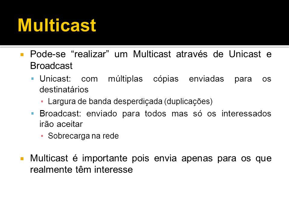 Pode-se realizar um Multicast através de Unicast e Broadcast Unicast: com múltiplas cópias enviadas para os destinatários Largura de banda desperdiçada (duplicações) Broadcast: enviado para todos mas só os interessados irão aceitar Sobrecarga na rede Multicast é importante pois envia apenas para os que realmente têm interesse