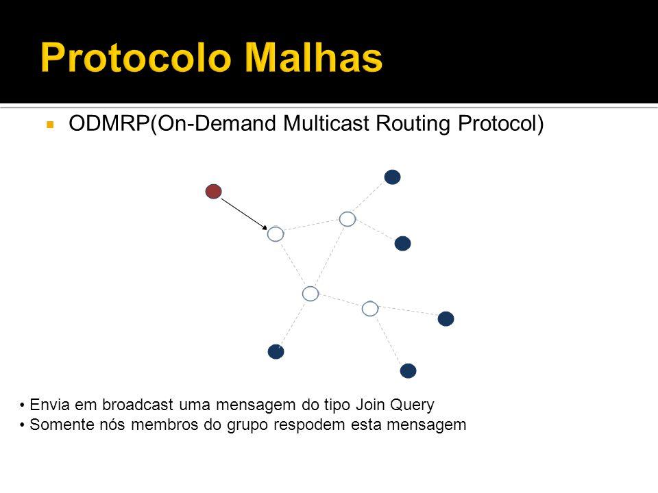 ODMRP(On-Demand Multicast Routing Protocol) Envia em broadcast uma mensagem do tipo Join Query Somente nós membros do grupo respodem esta mensagem