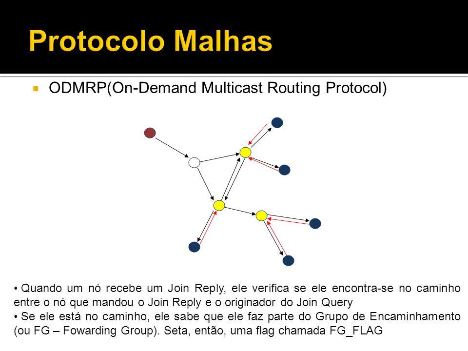 ODMRP(On-Demand Multicast Routing Protocol) Quando um nó recebe um Join Reply, ele verifica se ele encontra-se no caminho entre o nó que mandou o Join Reply e o originador do Join Query Se ele está no caminho, ele sabe que ele faz parte do Grupo de Encaminhamento (ou FG – Fowarding Group).
