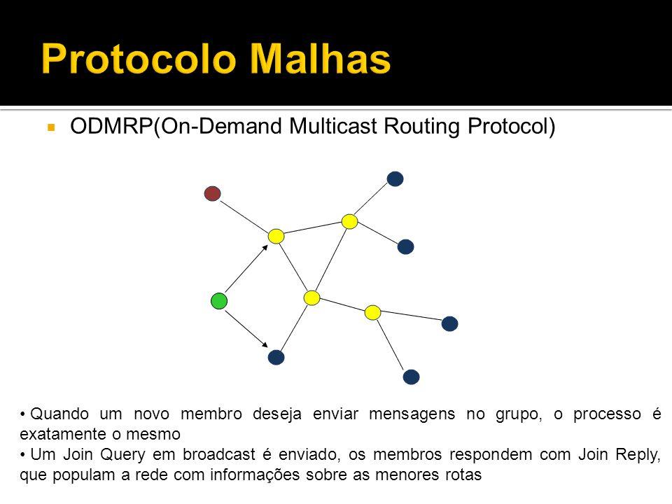 ODMRP(On-Demand Multicast Routing Protocol) Quando um novo membro deseja enviar mensagens no grupo, o processo é exatamente o mesmo Um Join Query em broadcast é enviado, os membros respondem com Join Reply, que populam a rede com informações sobre as menores rotas