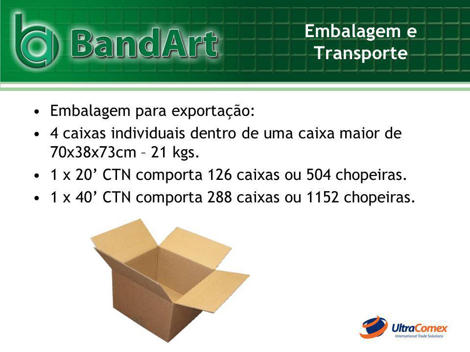 Embalagem e Transporte Embalagem para exportação: 4 caixas individuais dentro de uma caixa maior de 70x38x73cm – 21 kgs. 1 x 20 CTN comporta 126 caixa