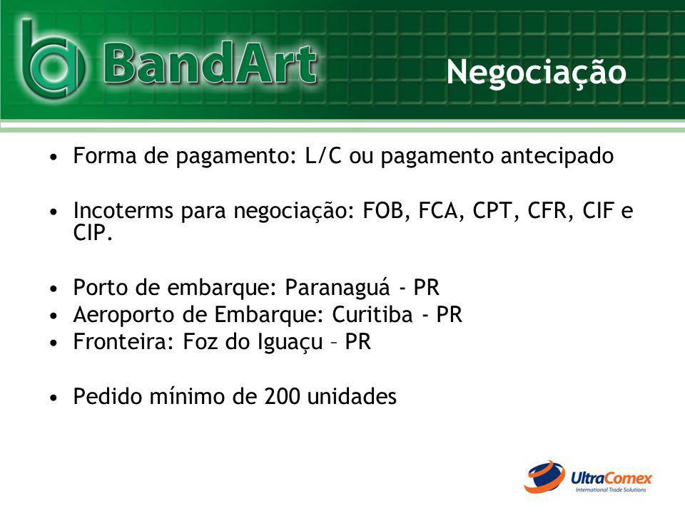 Negociação Forma de pagamento: L/C ou pagamento antecipado Incoterms para negociação: FOB, FCA, CPT, CFR, CIF e CIP. Porto de embarque: Paranaguá - PR