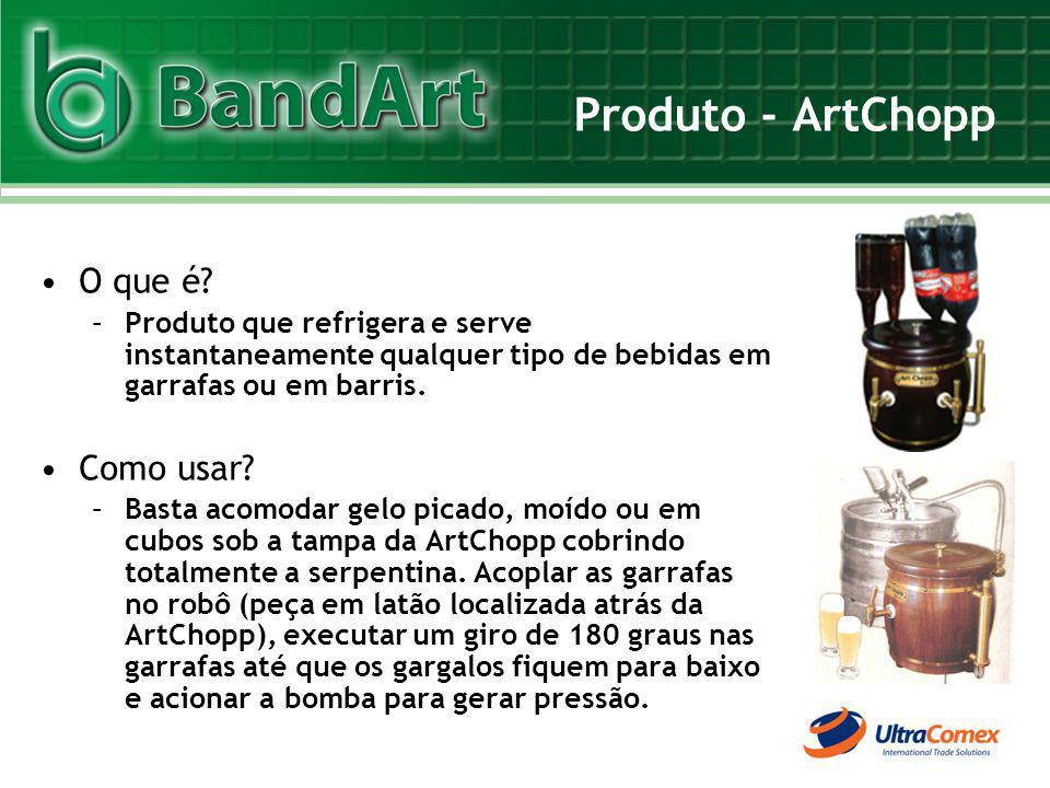 Produto - ArtChopp O que é? –Produto que refrigera e serve instantaneamente qualquer tipo de bebidas em garrafas ou em barris. Como usar? –Basta acomo