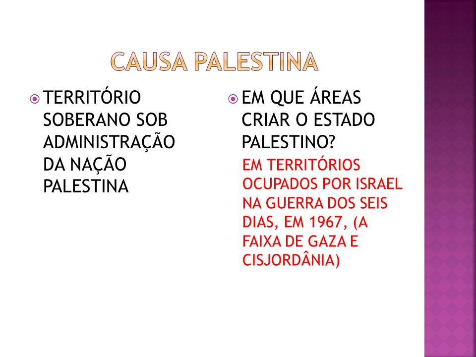 TERRITÓRIO SOBERANO SOB ADMINISTRAÇÃO DA NAÇÃO PALESTINA EM QUE ÁREAS CRIAR O ESTADO PALESTINO? EM TERRITÓRIOS OCUPADOS POR ISRAEL NA GUERRA DOS SEIS