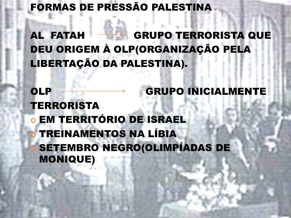 FORMAS DE PRESSÃO PALESTINA AL FATAH GRUPO TERRORISTA QUE DEU ORIGEM À OLP(ORGANIZAÇÃO PELA LIBERTAÇÃO DA PALESTINA). OLP GRUPO INICIALMENTE TERRORIST
