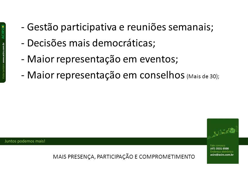MAIS PRESENÇA, PARTICIPAÇÃO E COMPROMETIMENTO - Gestão participativa e reuniões semanais; - Decisões mais democráticas; - Maior representação em eventos; - Maior representação em conselhos (Mais de 30);