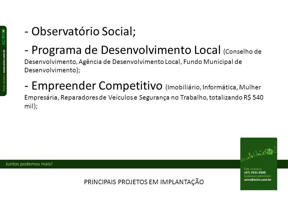 PRINCIPAIS PROJETOS EM IMPLANTAÇÃO - Observatório Social; - Programa de Desenvolvimento Local (Conselho de Desenvolvimento, Agência de Desenvolvimento Local, Fundo Municipal de Desenvolvimento); - Empreender Competitivo (Imobiliário, Informática, Mulher Empresária, Reparadores de Veículos e Segurança no Trabalho, totalizando R$ 540 mil);