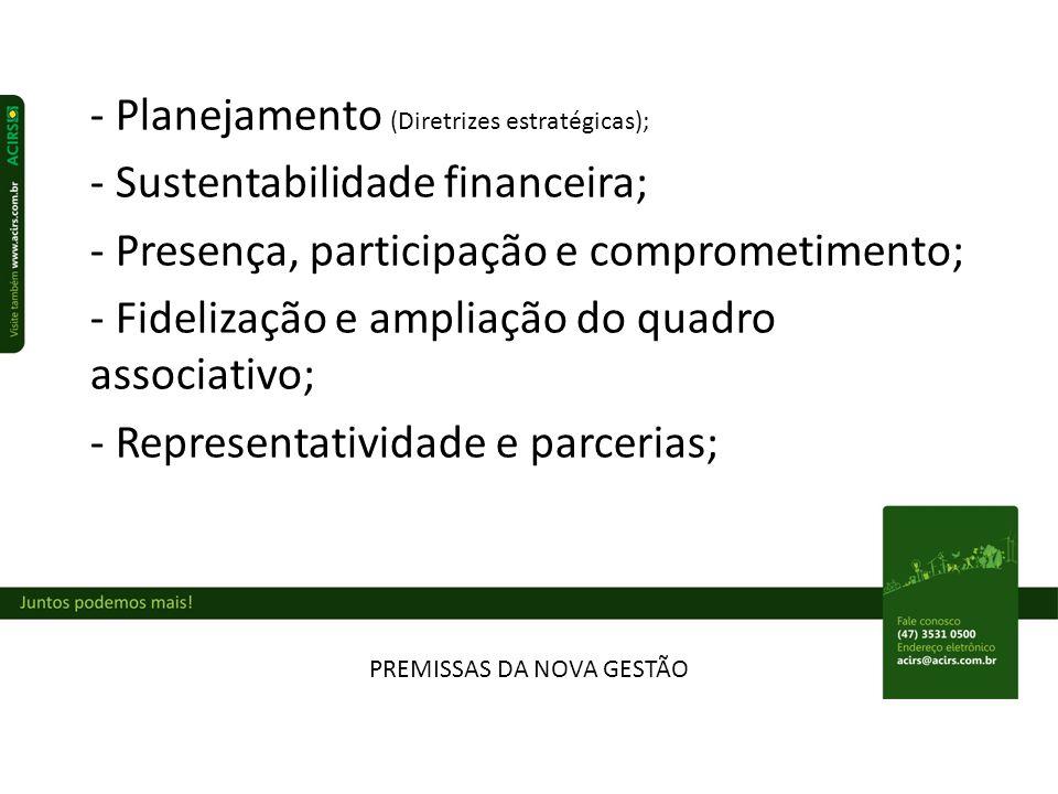 PREMISSAS DA NOVA GESTÃO - Planejamento (Diretrizes estratégicas); - Sustentabilidade financeira; - Presença, participação e comprometimento; - Fidelização e ampliação do quadro associativo; - Representatividade e parcerias;