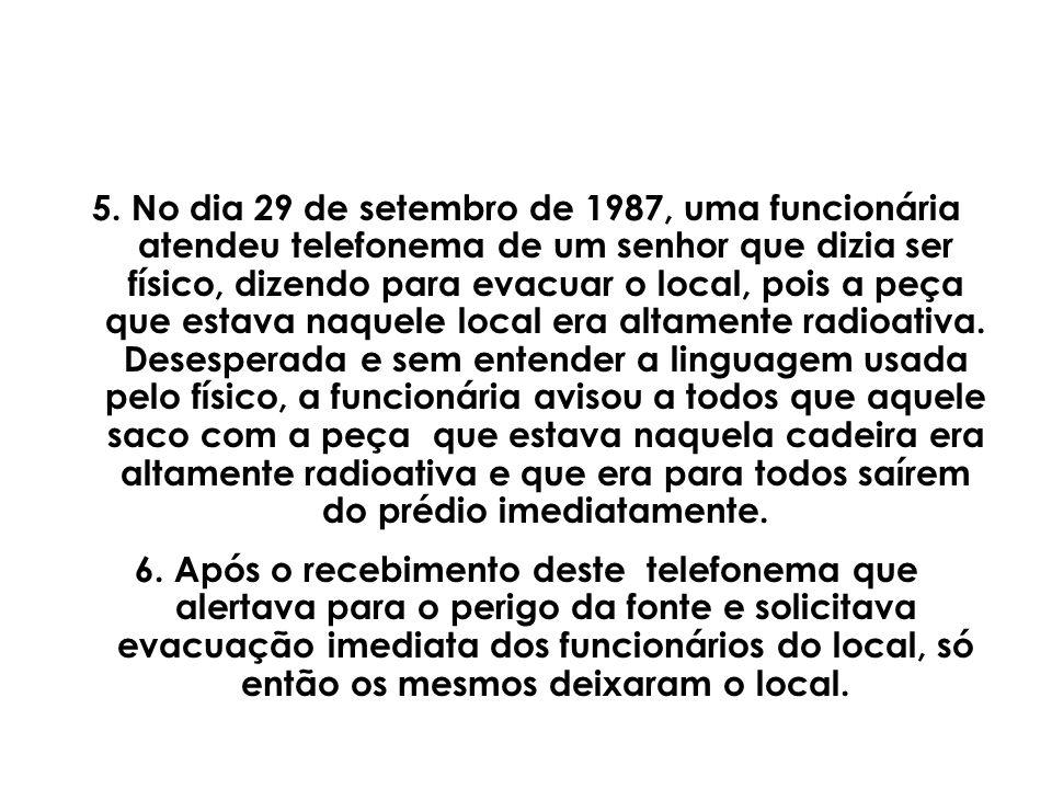 5. No dia 29 de setembro de 1987, uma funcionária atendeu telefonema de um senhor que dizia ser físico, dizendo para evacuar o local, pois a peça que