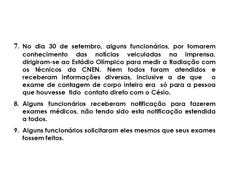 7.No dia 30 de setembro, alguns funcionários, por tomarem conhecimento das notícias veiculadas na imprensa, dirigiram-se ao Estádio Olímpico para medi