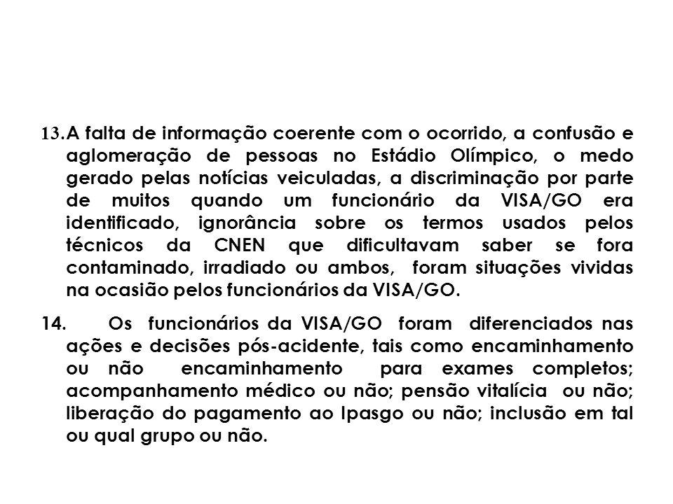 13.A falta de informação coerente com o ocorrido, a confusão e aglomeração de pessoas no Estádio Olímpico, o medo gerado pelas notícias veiculadas, a