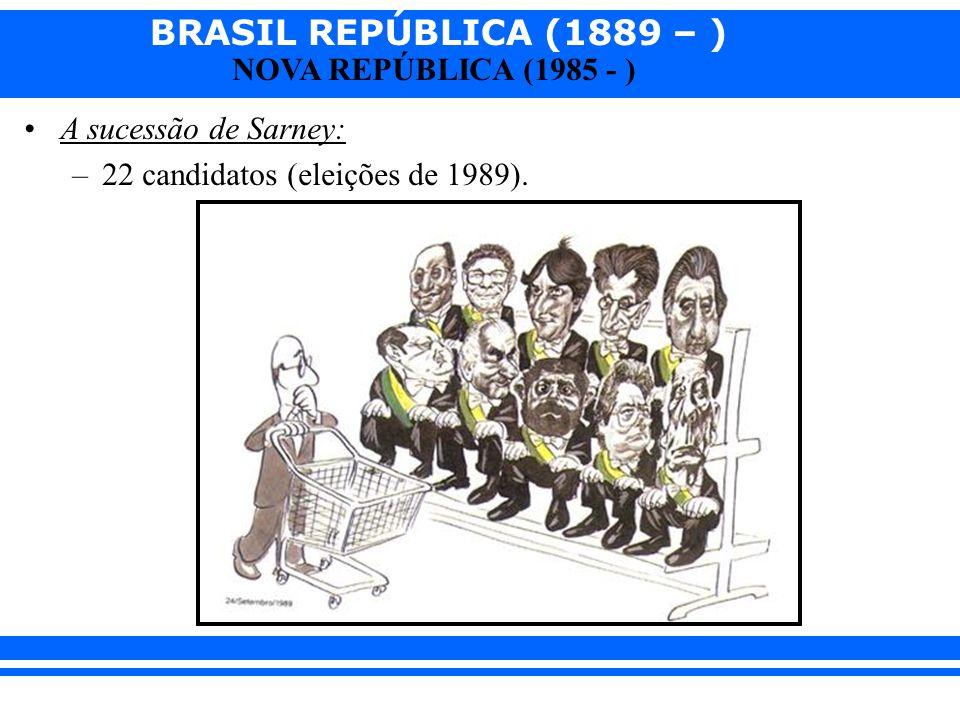 BRASIL REPÚBLICA (1889 – ) NOVA REPÚBLICA (1985 - ) A sucessão de Sarney: –22 candidatos (eleições de 1989).