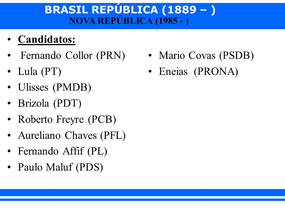 BRASIL REPÚBLICA (1889 – ) NOVA REPÚBLICA (1985 - ) Candidatos: Fernando Collor (PRN) Lula (PT) Ulisses (PMDB) Brizola (PDT) Roberto Freyre (PCB) Aure