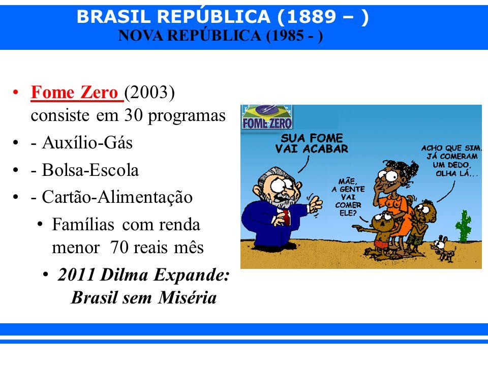 BRASIL REPÚBLICA (1889 – ) NOVA REPÚBLICA (1985 - ) Fome Zero (2003) consiste em 30 programas - Auxílio-Gás - Bolsa-Escola - Cartão-Alimentação Famíli