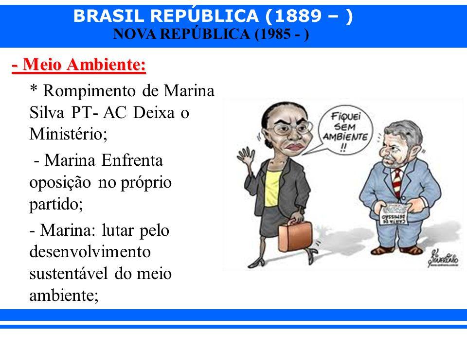 BRASIL REPÚBLICA (1889 – ) NOVA REPÚBLICA (1985 - ) - Meio Ambiente: * Rompimento de Marina Silva PT- AC Deixa o Ministério; - Marina Enfrenta oposiçã