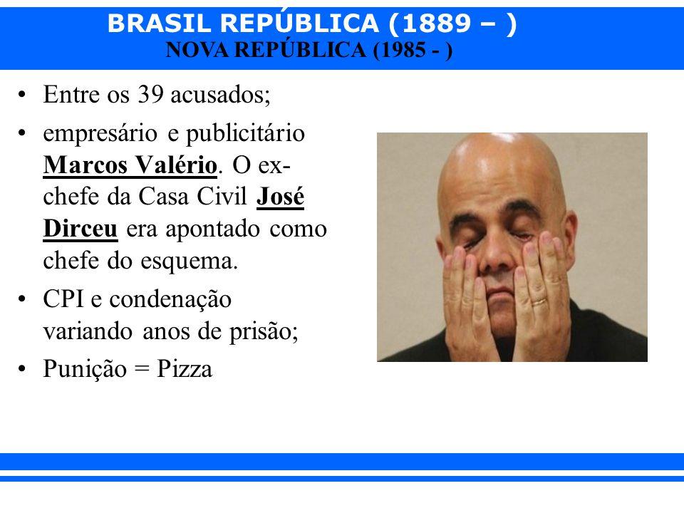 BRASIL REPÚBLICA (1889 – ) NOVA REPÚBLICA (1985 - ) Entre os 39 acusados; empresário e publicitário Marcos Valério. O ex- chefe da Casa Civil José Dir