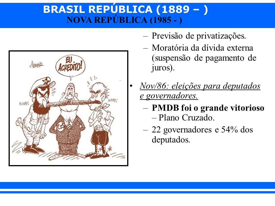 BRASIL REPÚBLICA (1889 – ) NOVA REPÚBLICA (1985 - ) –Previsão de privatizações. –Moratória da dívida externa (suspensão de pagamento de juros). Nov/86