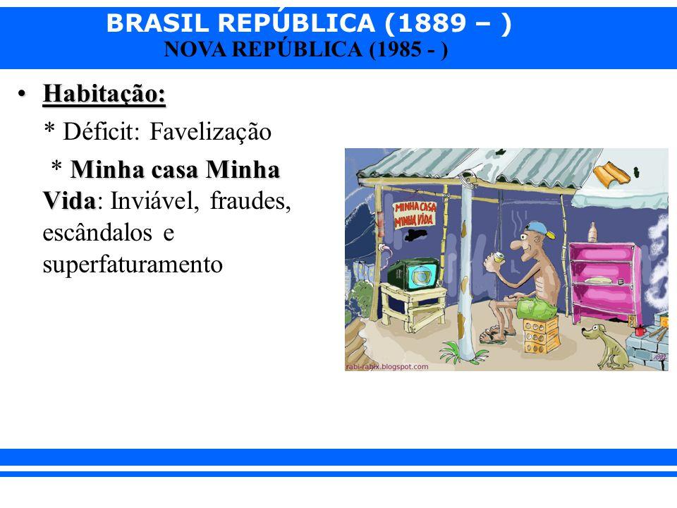 BRASIL REPÚBLICA (1889 – ) NOVA REPÚBLICA (1985 - ) Habitação:Habitação: * Déficit: Favelização Minha casa Minha Vida * Minha casa Minha Vida: Inviáve