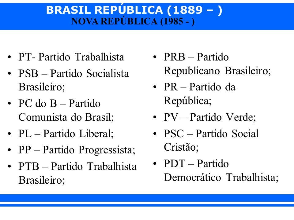 BRASIL REPÚBLICA (1889 – ) NOVA REPÚBLICA (1985 - ) PT- Partido Trabalhista PSB – Partido Socialista Brasileiro; PC do B – Partido Comunista do Brasil