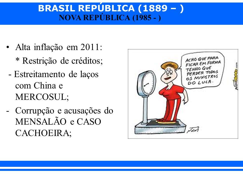 BRASIL REPÚBLICA (1889 – ) NOVA REPÚBLICA (1985 - ) Alta inflação em 2011: * Restrição de créditos; - Estreitamento de laços com China e MERCOSUL; -Co