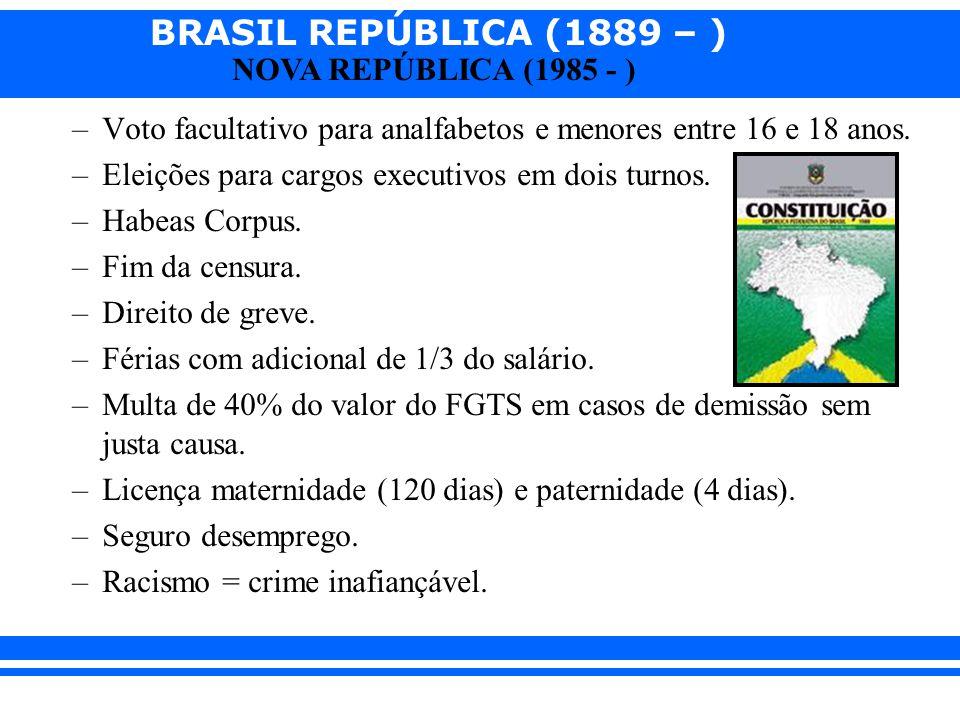 BRASIL REPÚBLICA (1889 – ) NOVA REPÚBLICA (1985 - ) –Voto facultativo para analfabetos e menores entre 16 e 18 anos. –Eleições para cargos executivos