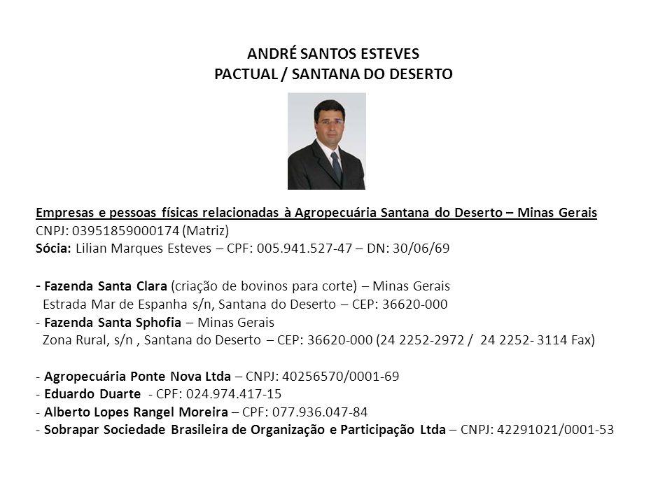 ANDRÉ SANTOS ESTEVES PACTUAL / SANTANA DO DESERTO Empresas e pessoas físicas relacionadas à Agropecuária Santana do Deserto – Minas Gerais CNPJ: 03951