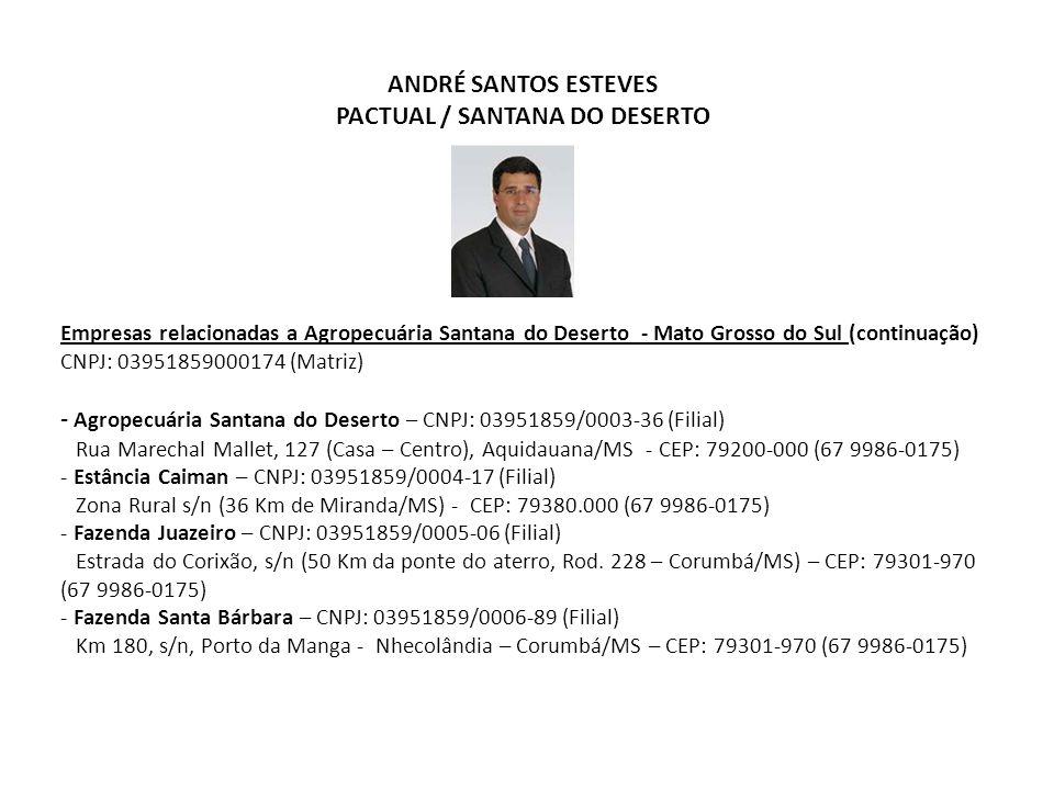 ANDRÉ SANTOS ESTEVES PACTUAL / SANTANA DO DESERTO Empresas relacionadas a Agropecuária Santana do Deserto - Mato Grosso do Sul (continuação) CNPJ: 039